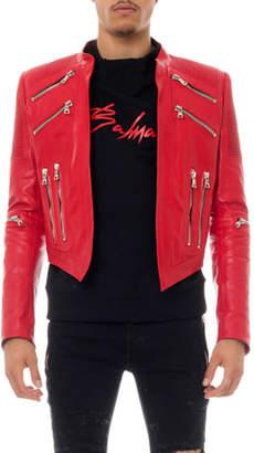Balmain Man's Leather Biker Jacket