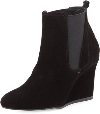 Lanvin Suede Wedge Chelsea Boot, Black
