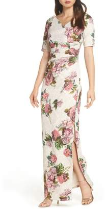 Adrianna Papell Metallic & Floral Column Gown