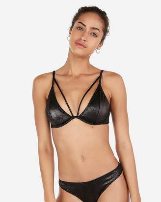 ae58eb86b91 Express Bronze Ribbed Strappy Bikini Top