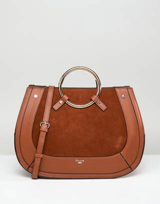Dune Tote Bag In Tan With Round Metal Top Handle