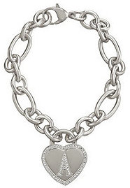 Steel by Design As Is Stainless Steel Pave' Heart Initial Rolo Bracelet