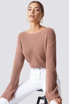 NA-KD Na Kd Cropped Long Sleeve Knitted Sweater Beige