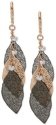 lonna & lilly Two-Tone Crystal Leaf Drop Earrings