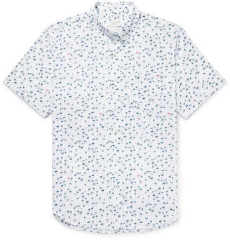 Club Monaco Button-Down Collar Flamingo-Print Cotton Shirt