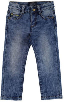 MAYORAL Faded Straight-Leg Faux Jeans, Blue, Size 3-7 $45 thestylecure.com