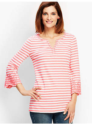 Talbots Ocean City Stripe Embroidered Flare-Sleeve Split-Neck Tunic