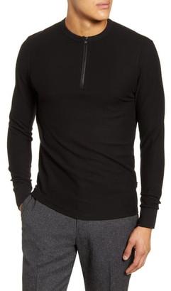 BOSS Textor Regular Fit Quarter Zip Rib T-Shirt
