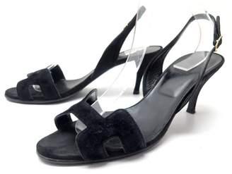 Hermes Night Black Velvet Sandals