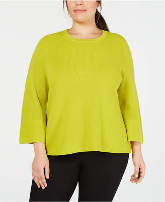 Eileen Fisher Plus Size Merino Wool 3/4-Sleeve Flared Sweater
