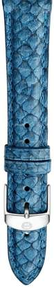 Michele 18mm Seamist Blue Fish Skin Watch Strap