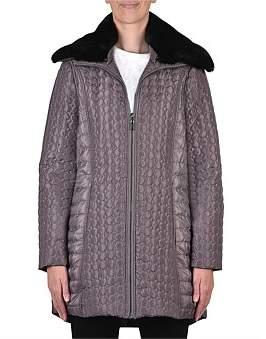 Jump Puffer Coat With Fur Collar