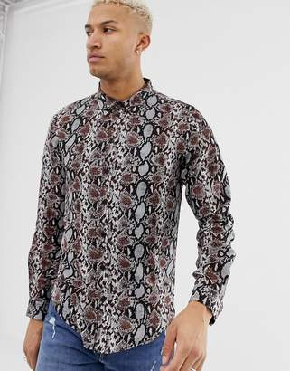 Another Influence snake print long sleeve shirt