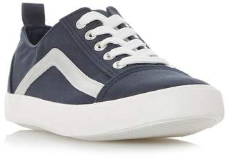 at Debenhams Head Over Heels by Dune - Navy Canvas 'Elate' Lace Up Trainers