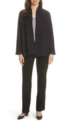 Eileen Fisher High Collar Textured Cotton Blend Jacket