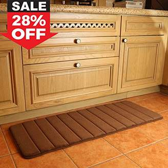 """KMAT 47"""" x 17"""" Long Anti-Fatigue Memory Foam Kitchen Mats Bathroom Rugs Extra Soft Non-Slip Water Resistant Rubber Back Anti-slip Runner area rug for Kitchen and Bathroom Brown"""