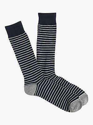 J.Crew Microstripe Socks, One Size, Navy/Ivory