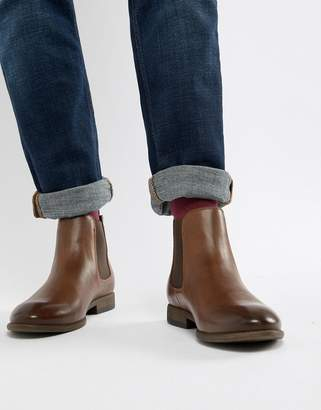 New Look faux leather chelsea boots in brown