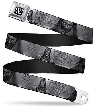 BVB Logo Full Color Black/White Seatbelt Belt - Black Veil Brides Logos/Serpentine Matriarch Grays Webbing X-LARGE