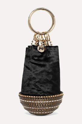 Rosantica Ghizlan Crystal-embellished Velvet Clutch - Black