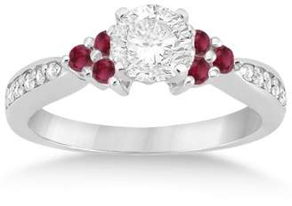 Victoria's Secret Allurez Floral Diamond and Ruby Engagement Ring Band 18k White Gold (0.30ct) GH Unique Gemstone Jewelry