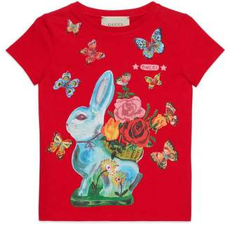 Gucci Children's T-shirt with rabbit print