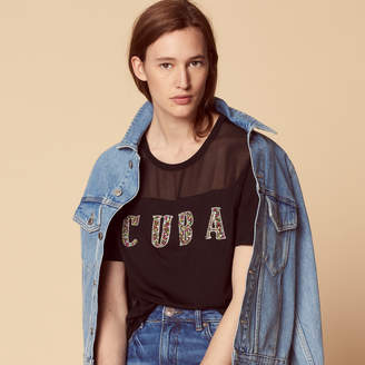Sandro T-shirt with beaded Cuba lettering