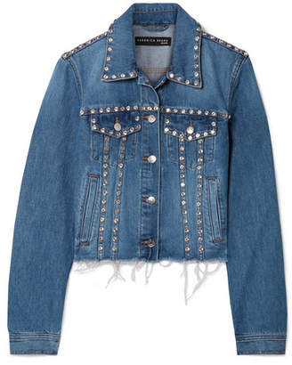 Veronica Beard Cara Cropped Crystal-embellished Frayed Denim Jacket - Light denim