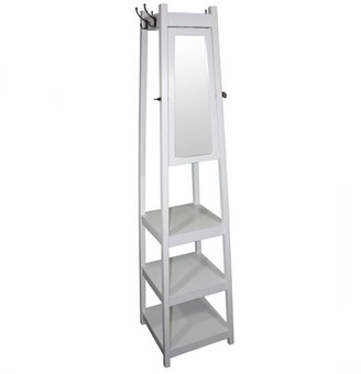 "Ore International 72"" 3-Tier White Tower Shoe/Coat Rack plus Mirror"