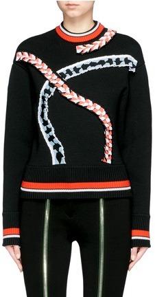 Emilio Pucci Geometric pleated trim Merino wool sweater