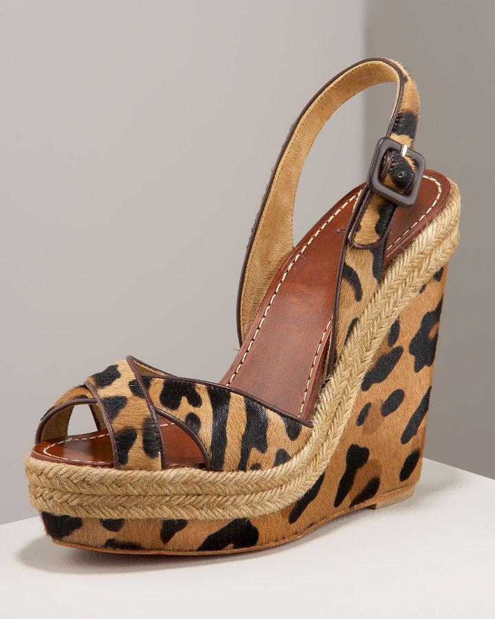 Christian Louboutin Leopard Wedge Sandal
