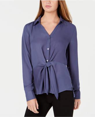 BCX Juniors' High-Low Tie-Front Shirt