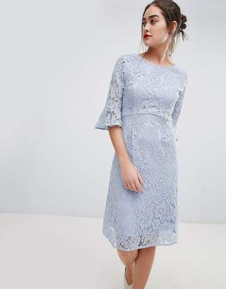 Sugarhill Boutique ellie fluted sleeve lace midi dress