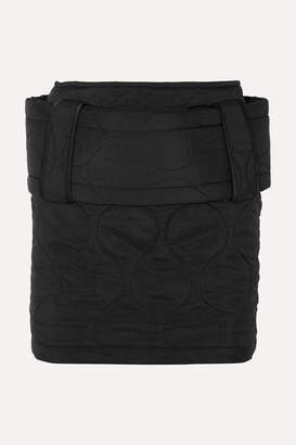 House of Holland Belted Quilted Ripstop Mini Skirt - Black