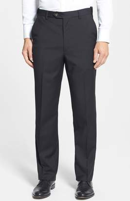 Berle Self Sizer Waist Flat Front Wool Trousers