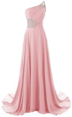 CutieTell One Shoulder Pleated Gradient Long Evening Prom Dresses Chiffon Wedding Party Gowns US22W