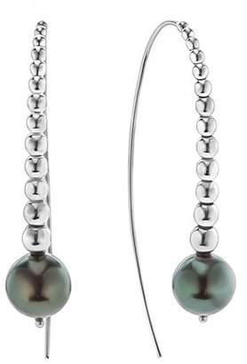 Lagos Sterling Silver Signature Caviar Cultured Tahitian Black Pearl Linear Drop Earrings