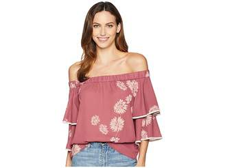 Vince Camuto Tiered Sleeve Chateau Floral Off-Shoulder Blouse Women's Clothing
