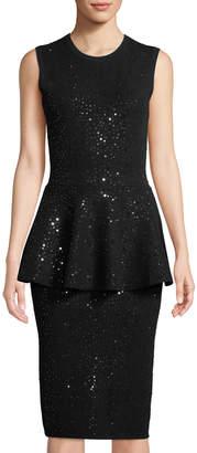 Michael Kors Embellished Sleeveless Peplum Dress, Black