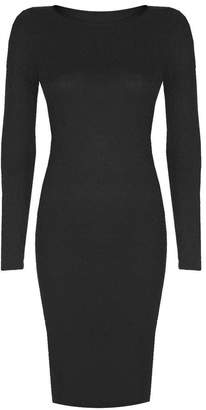 VIP Womens Long Sleeved Scoop Neck Midi Dress (Aqa) (8/10 (uk), Cream/white)