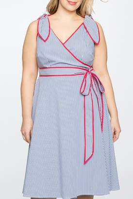 ELOQUII Draper James for Stripe Wrap Dress (Plus Size)