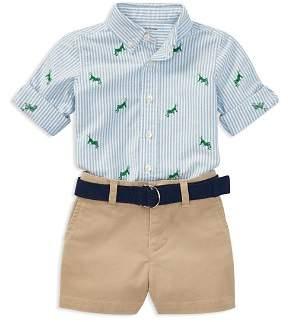 Ralph Lauren Boys' Grasshopper Oxford Shirt, Chino Shorts & Belt Set - Baby