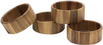 Lipper Set of 4 Acacia Straight-Side Salad Bowls
