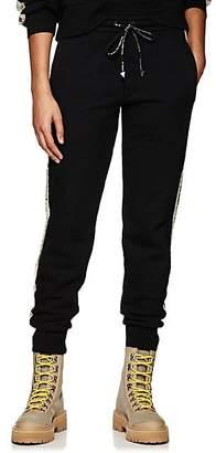 Palm Angels Women's Floral-Logo Cotton Fleece Sweatpants - Black