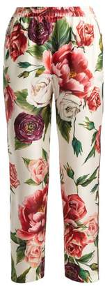 Dolce & Gabbana Silk Twill Rose And Peony Print Trousers - Womens - White Multi