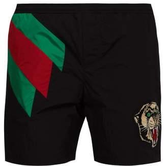 Gucci Web Striped And Tiger Head Swimshorts - Mens - Black Multi
