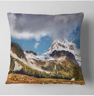 """Whistler Designart Mountain British Columbia Throw Pillow - 16"""" X 16"""""""