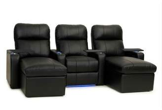 Red Barrel Studio Contemporary Upholstered Leather Home Theater Sofa (Row of 3) Red Barrel Studio