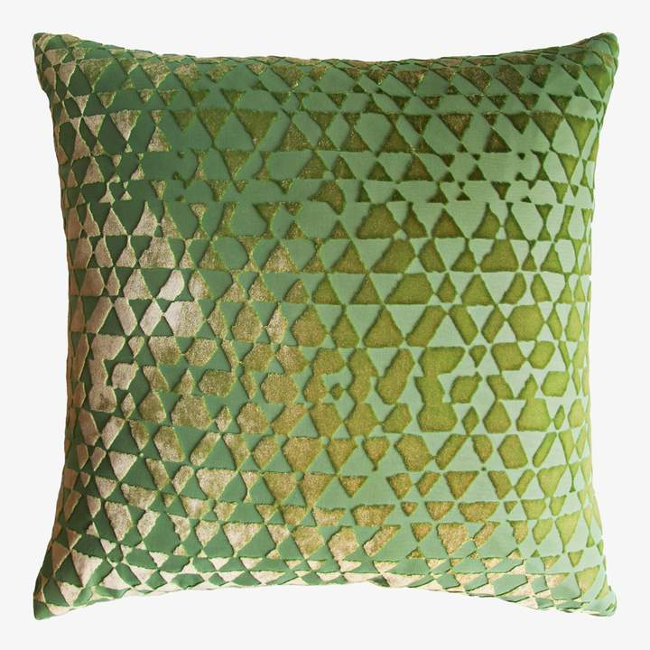 Kevin OBrien Kevin O'brien Kevin O'Brien Triangles Velvet Pillow Grass
