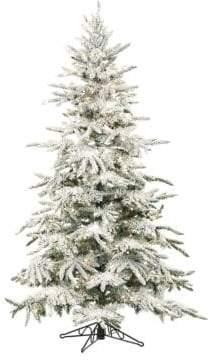Fraser Hill Farms Flocked Mountain Pine Multi-Color LED String Lighting Christmas Tree- 7.5 ft.
